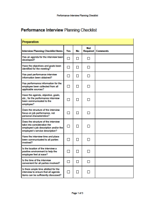 Performance Interview Checklist