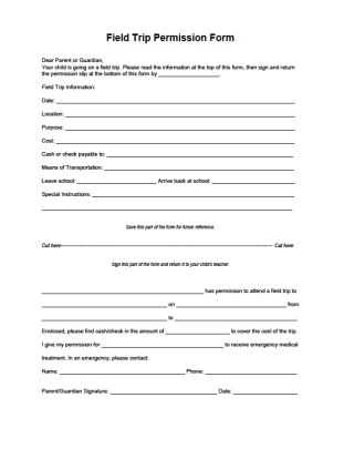 Field Trip Permission Form