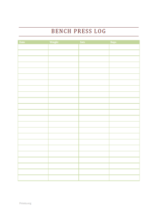 Bench Press Log