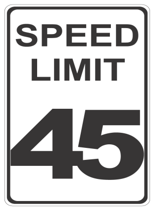 Speed Limit 45 sign